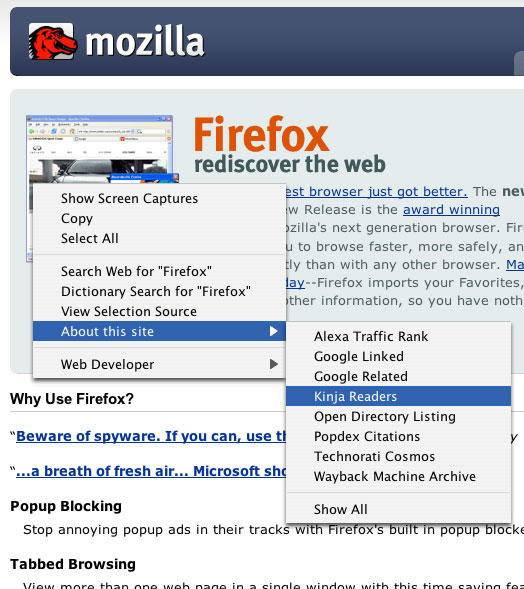 About This Site FireFox Plugin